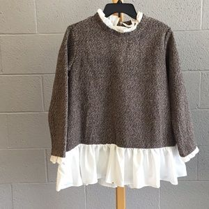 Sm shein brown sweater with ruffled white top